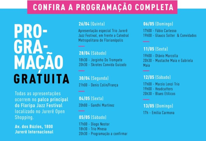 Jurerê Jazz Festival 2018 (foto http://www.jurerejazz.com/#programacao)